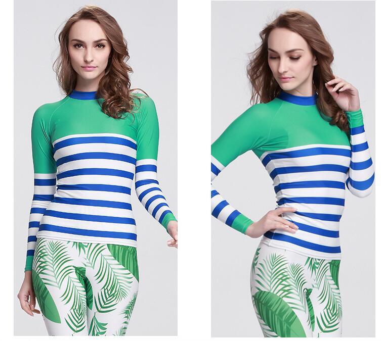 SBART Summer Women Long Sleeve Sunscreen Rash Guards Shirts Anti-UV Upf50 Swimsuit for Womens Swimming Windsurfing Tops<br>