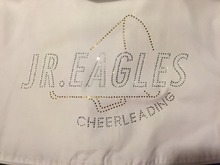 "Free shipping  Free shipping  Jr. Eagles is 9.2""x5.8"",golden yellow with white clear crystal  rhinestones transfer design"