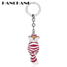 HANCHANG Accessories Unique Jewelry Keychain Alice in Wonderland Cheshire Cat Pendants Key Chain Cartoon Keyrings(China)
