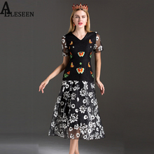 Buy Casual Sexy Dresses 2017 Summer New Fashion Butterfly Embroidery Mesh Patchwork Print V-Neck Slim A-Line Long Elegant Dress for $54.60 in AliExpress store
