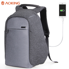 Aoking 2017 Fashion Functional Backpack USB Charge Business Backpack Mochila Travel Backpack Anti-theft College Luggage Backpack