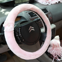 Fashion milk velvet steering wheel cover winter warm car steering wheels covers for interior Accessories for Girls Women