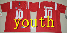 Nike 2017Youth Ole Miss Rebels Eli Manning 10 College Alumni Boxing Jersey - Red Size S,M,L,XL(China)