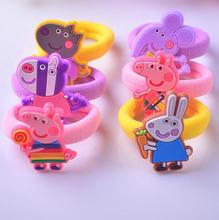 6PCS peppa hair ties rubber band cartoon hair gum scrunchy silicone hair clip hairpin hair accessories for girl kid hairband G20(China)