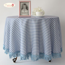 1 Piece Mediterranean Style Cotton and Linen Table Cloth/ Blue Grid Table Cloth/ High-grade Rural Round Table Cloth