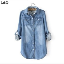 Women Denim Blouse jeans Shirt Fashion Tops Slim Cotton Jeans Shirts Solid Women Vintage Long Sleeve Casual Shirts plus size(China)