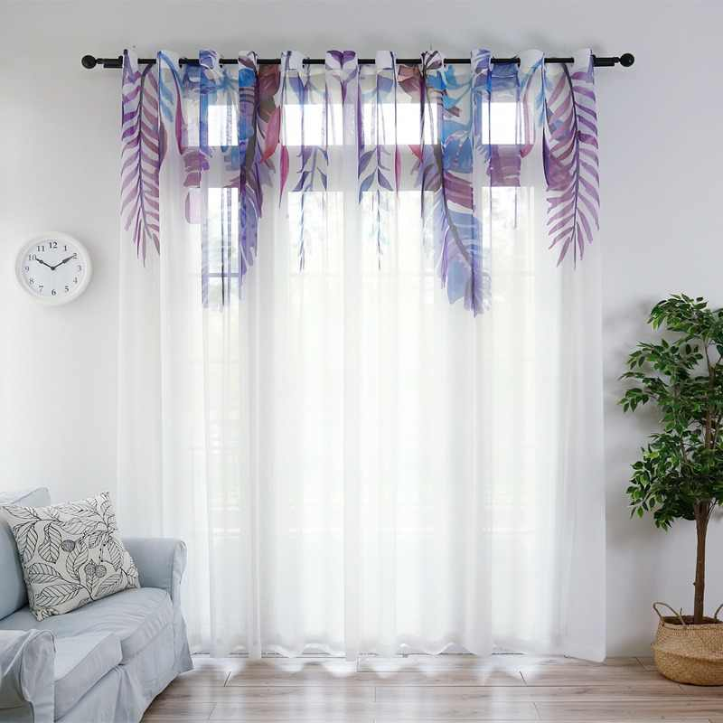 Nordic purple feathers modern window screen green tulle curtains for living room white gauze drapes for the bedroom S305&30