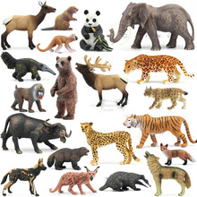 Original genuine wild jungle zoo farm animals series 4 animal collectible model kids toy for children gift(China)