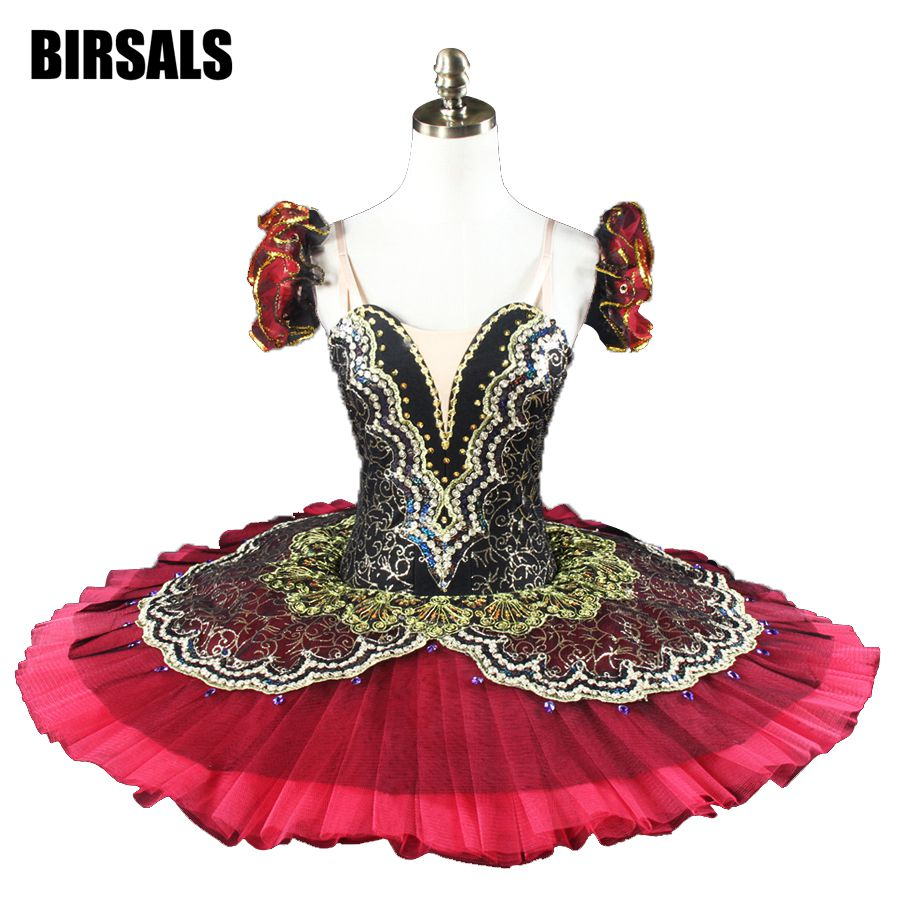 Black Burgundy Professional Ballet Tutus Women La esmeralda Performance Costume Pancake Tutu Girls8941B