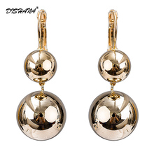 2017 Fashion Trendy Long Drop Earrings For Women Gold color Dangle Piercing Shining Ball Shape Earring Wedding Jewelry E0732(China)