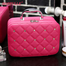 DOPPULLE Luxury Women Bling Cosmetic Case Rivet Rhinestone Makeup Box Professional Tote Cosmetic Bag Beauty Case for Beignners(China)