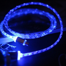 High quality 1M LED Light Durable  USB Data Cable Charging 2A & Data Sync Mobile Phone Cables for iPhone 5 6 6s 7 7 Plus W0P35