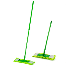 FJS!New Extendable Microfibre Mop Cleaner Sweeper Wet Dry - Green(China)