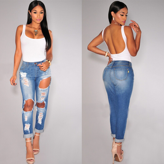 Ripped Jeans for Women 2015 Hot Mid Waist Jeans Casual Knee Skinny Pencil Pants American Apparel Slim Denim Blue Ripped JeansОдежда и ак�е��уары<br><br><br>Aliexpress