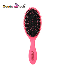 Natural Boar Bristle Hairbrush with Nylon Women Wet Hair brush Barber Scalp Massage Comb for Hair(China)