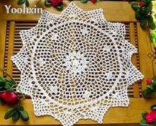 38CM Lace Round cotton handmade table place mat Christmas pad crochet cup mug holder coaster placemat drink doily HOT kitchen