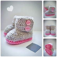 Gray & Pink Crochet Baby Booties, Newborn Crochet Shoes,Crochet Girl Booties, Baby Shoes, Fashion Booties, Baby shower gift