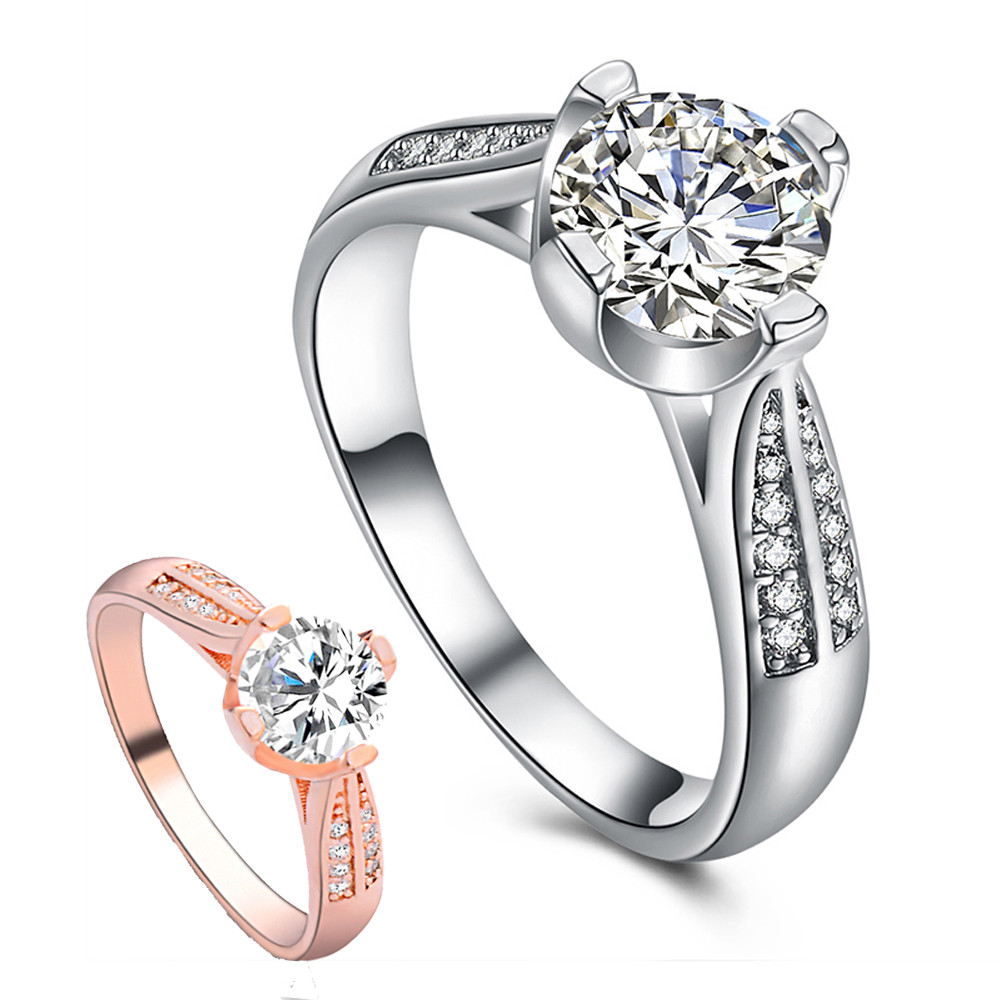 Women Cubic Zirconia Silver Plated Bridal Alluring Wedding Ring Size 7 8 9