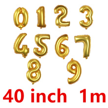40 Inch 100cm super Large golden number air balloon aluminum foil globo Party wedding Advertising ballon car card Vocal concert(China)