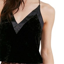 Summer Lady Fashion Cotton Velvet Tops Women Patchwork Sexy Halter Top Straps Brown Black High Quality Crop Tops