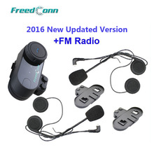 Updated Version!! FreedConn T-COM VB BT Bluetooth Motorcycle Helmet Intercom Headset with FM Radio+Extra Earpiece+Bracket