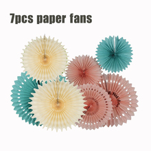 7PCS/Set Honeycomb Tissue Paper Fan Baby Blue Pink Cream Hanging Paper Rosette Wedding Birthday Shower Party Decoration(China)