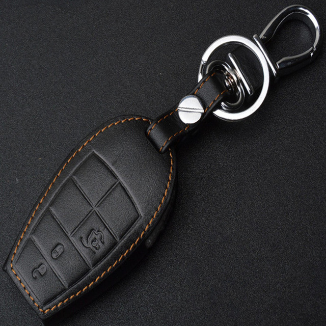 Genuine Leather Auto Key Cover Case Holder For Jeep Fiat Grand Cherokee Dodge Journey Jeep Grand Cherokee Car-Styling Keychain(China)