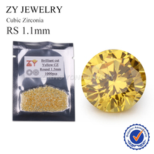 Good Looking Golden Cubic Zirconia Stone 1.1mm Round Shape Synthetic Gemstone Beads(China)