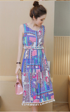 Baharcelin Vestidos 21 colors plus size 3XL 4XL Sleeveless Vintage Printed Dress Summer Woman Girl Casual Beach Tassel dress