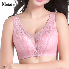 Meizimei Large Cup Geometic Grid Lace Sheer Bra bh Push UP bras Nylon XXX Plus size Women Underwear Top Sexy Wide Strap Lingerie(China)