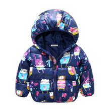 Girls Winter Coat Long Sleeve Outerwear Coat Cotton Paddad baby Kids Clothing Outfits Jackets for children pink blue red(China)