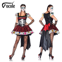 Vocole Mexican Day Of The Dead Cosplay Sexy Costumes Halloweeen Skeleton Vampire Mini Dress Ghost Bride Fancy Dress For Women