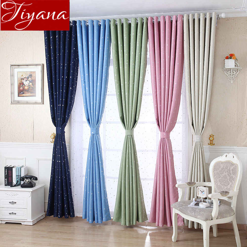 Star Curtain for Kids Boys Room Cartoon Blue Curtain for Window Bedroom White Tulle Girls Room Pink Drapes Treatment T&123#30