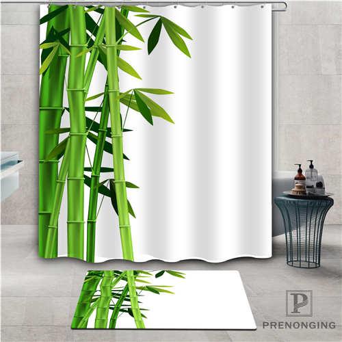 "Green Bamboo Shower Curtain 72x72/"" 12 Hooks Set or Fabric Bathroom Mat Polyester"