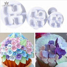 LIMITOOLS 3PC Hydrangea Fondant Cake Decorating Sugarcraft Plunger Cutter Flower Style NEW