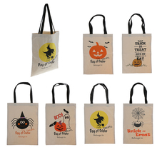 New Hot Sale Halloween Party Pumpkin and Bat Print Cotton Canvas Tote Gift Bags for Wedding Party Supplies Home Decor Girl Gift(China)