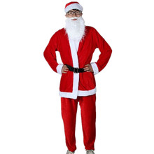 hot sale 5 pieces Christmas Cosplay Red Santa Claus Set Costumes Christmas Clothes Red Suit Men With Tops Pant Belt Beard Hat
