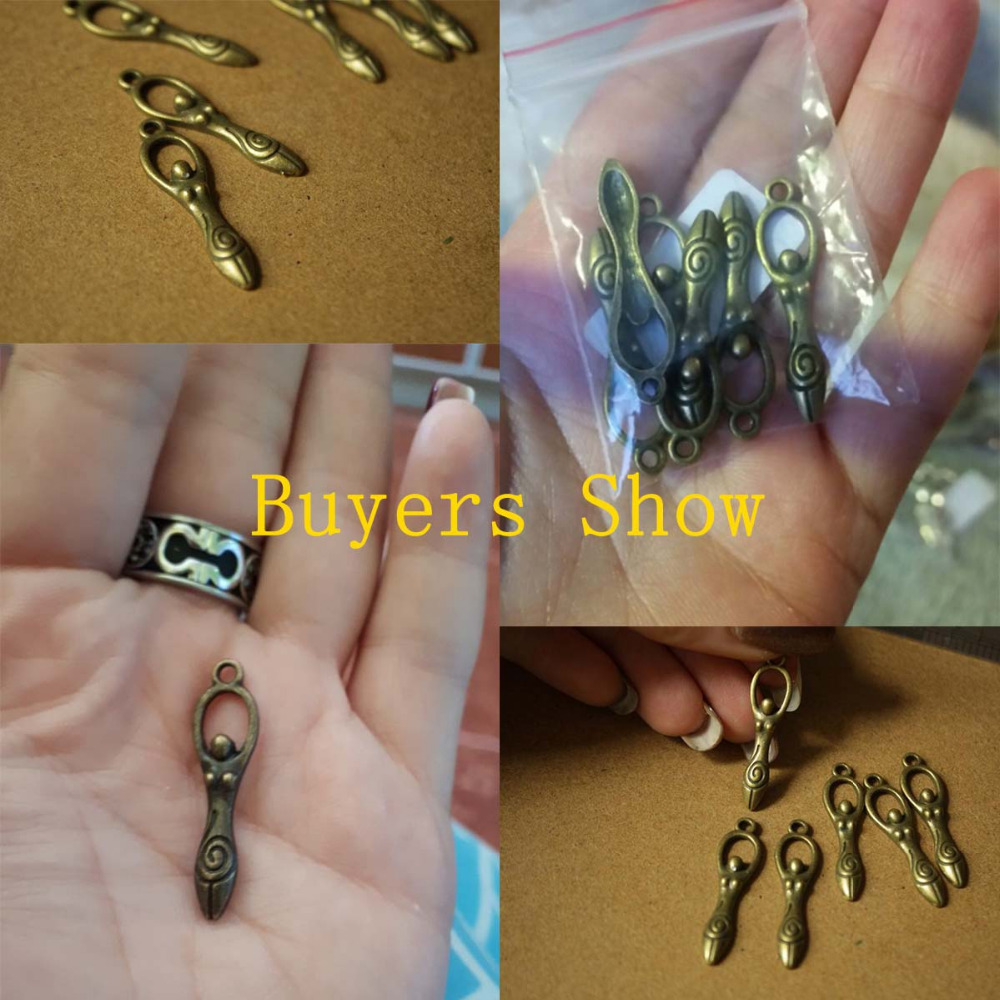 DoreenBeads Zinc metal alloy Charm Pendants Goddess Antique Bronze Graceful goddess Hand carved Antique Charm Pendants Hot 6 PCs (5)