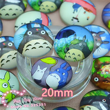 Glass mix image Cabochon Round 20mmTotoro Handmade Cartoon Photo Glass Dome jewelry findings,free shipping
