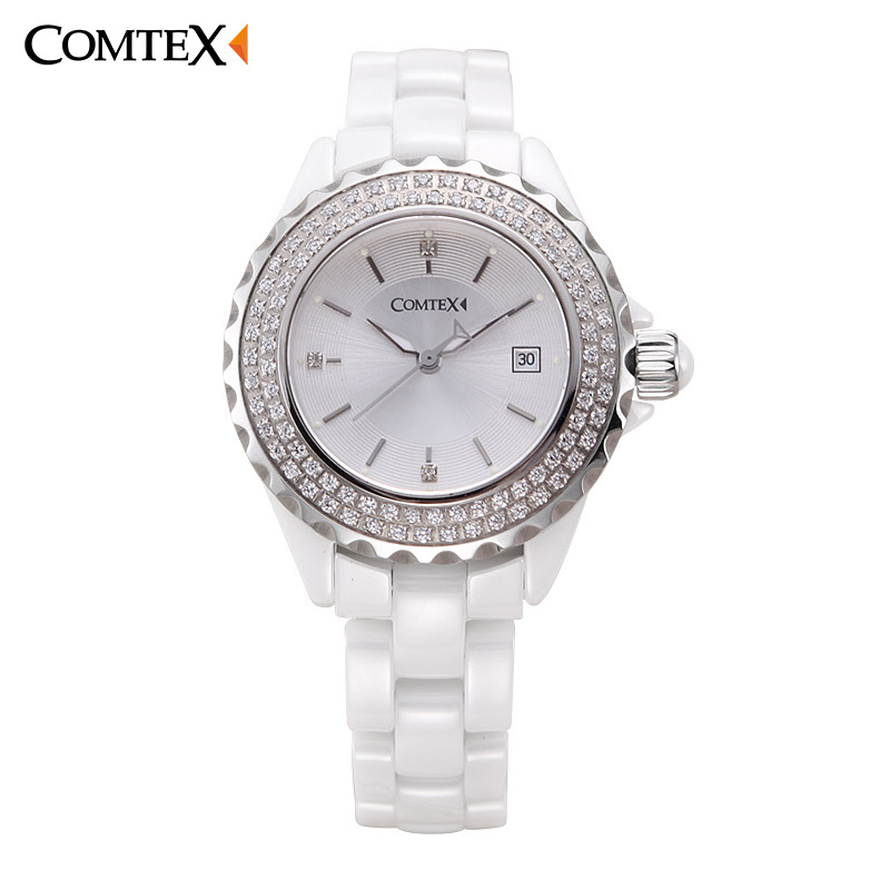 COMTEX Women Watch Ceramic White Fashion Casual Lady Watches Woman Luxury Band Watchs Quartz Wristwatch Crystal watch Clock <br>