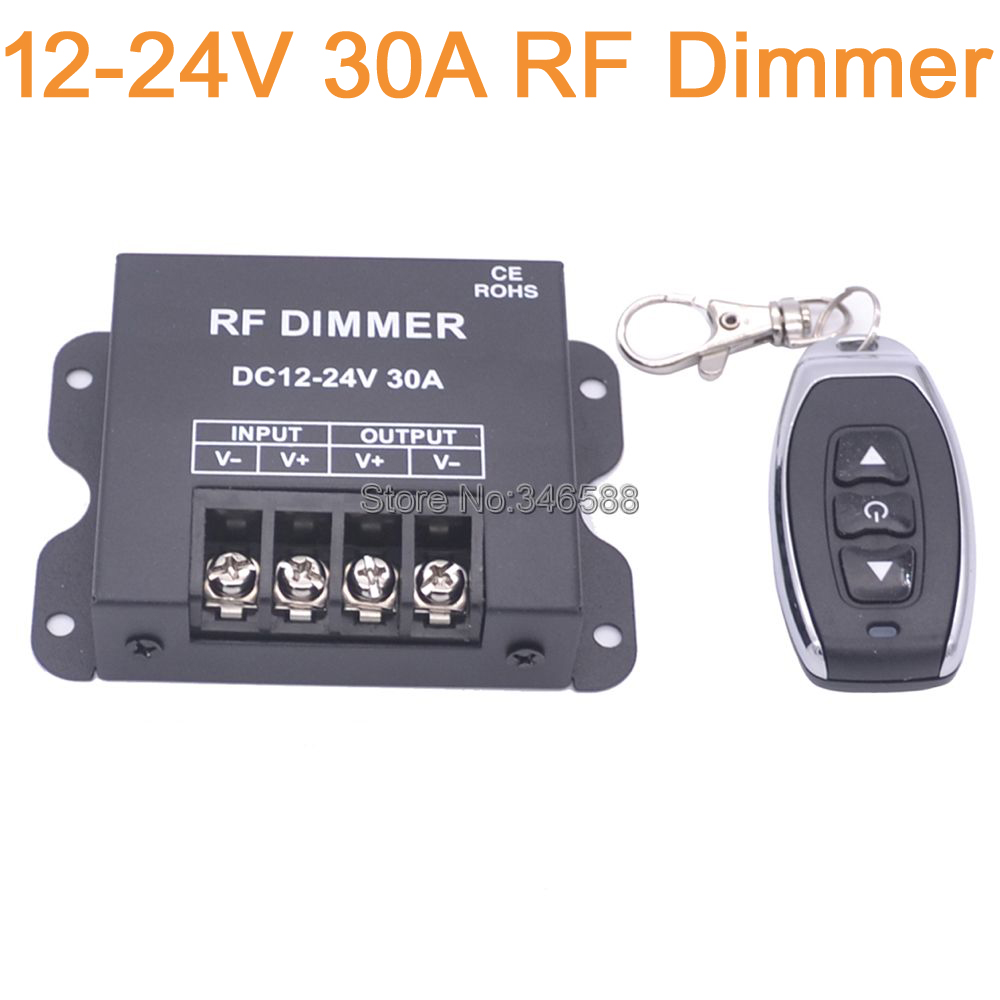 DC12-24V 30A Single Channel LED Dimmer Controller with 3Key Wirelss RF Remote Control for Single Color LED Striplight<br><br>Aliexpress