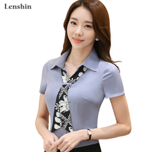 Scarf Shirt Gray Blouse New Fashion Short Sleeve Top Women Summer Wear(China)