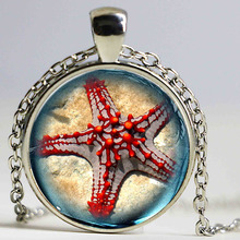 Ocean Sea Statement Necklace Red Starfish design kids Glass Marine life Vintage Silver Jewelry Halobios Pendant Necklace