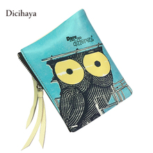 DICIHAYA Brand Genuine Leather Women Animal Print Wallets Owl Wallet Card Holder short Wallet Women Double Zipper Coin Pocket