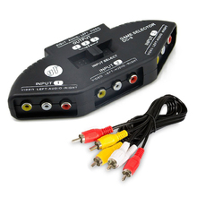 TV 3-Way Audio / Video RCA Switch Selector / Splitter Box & AV Patch Cable AV switcher distributor Audio/Video adapte(China)