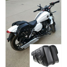Black Brown Motor PU Leather Side Bag Saddle Bags for XL883 XL1200XL883 XL1200 Universal Sportster Chopper Bike(China)