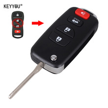 KEYYOU Remote Key Shell Case Folding Flip Fob For INFINITI G35 I35 350Z Nissan Sentra Altima Maxima 02-06 4 Button With LOGO