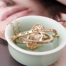 2017 Hot Selling Harry necklace time turner necklace hourglass Potter Necklace Hermione Granger Rotating Spins(China)
