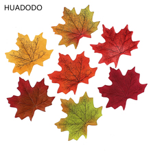 HUADODO 50 Pieces Artificial Maple Leaves Fake Autumn Fall Leaf Wedding Party Home Decoration Craft Scrapbooking Decor(China)