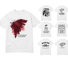 USAprint T Shirts Men Design Games of Thrones T-shirts Wolf Blood House Stark Print Cotton Tee Shirt Homme Movie Camisatas Hot(China)